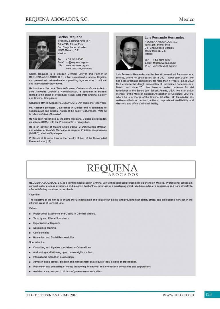 Carlos Requena | Abogado Penalista | 6th Edition Business Crime 2016
