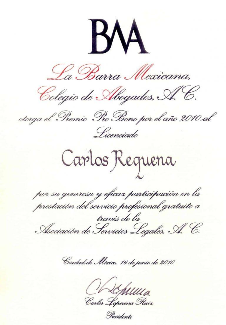 Carlos Requena | Abogado Penalista | Premio Pro Bono 2010