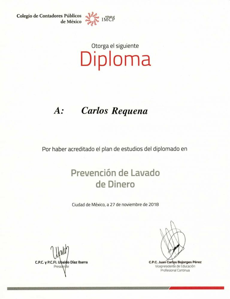 Diploma CCPM Prevención de Lavado de Dinero | Abogado Carlos Requena