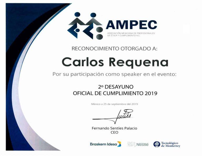 Reconocimiento AMPEC 2019 | Oficial de Cumplimiento | Abogado Carlos Requena