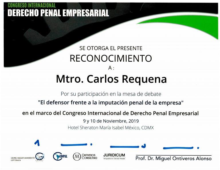 Reconocimiento Ontiveros Consulting | El defensor frente a la imputación penal de empresas | Abogado Carlos Requena