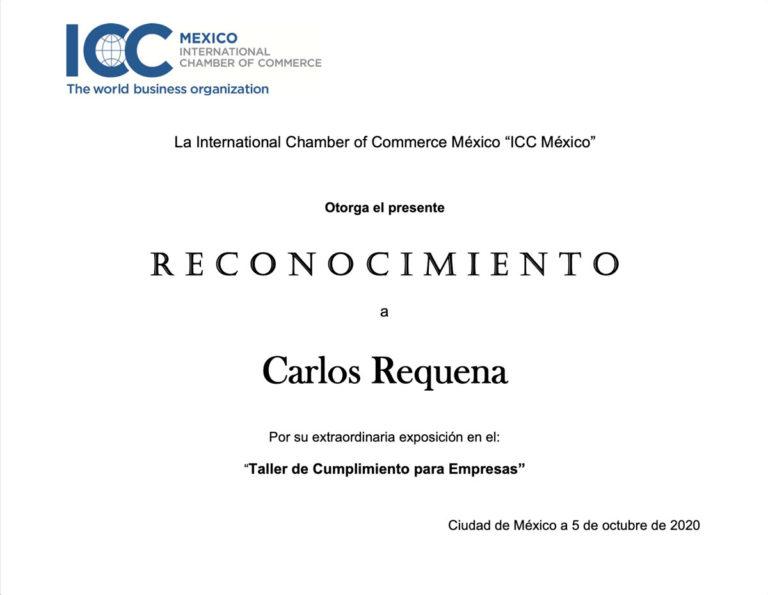 Reconocimiento ICC 2020 - Abogado Carlos Requena